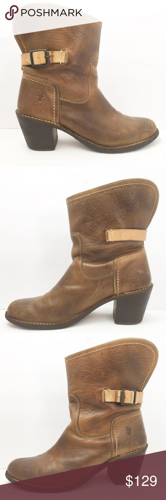 Frye Carmen Shortie Brown Leather Motorcycle Boots Frye Carmen Shortie Brown Leather Pull on Motorcycle Boots. Women's Size 10 (B) Medium 77840. Frye Shoes Ankle Boots & Booties
