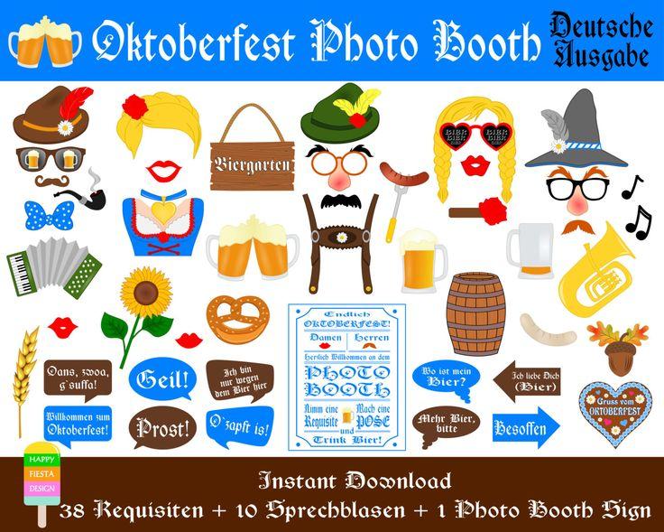 Oktoberfest Foto Requisiten–49 Pieces (38 props,10 speech bubbles,1 photo booth sign)-Deutsche Bier Party Photo Booth Props-Instant Download von HappyFiestaDesign auf Etsy https://www.etsy.com/de/listing/239449268/oktoberfest-foto-requisiten49-pieces-38