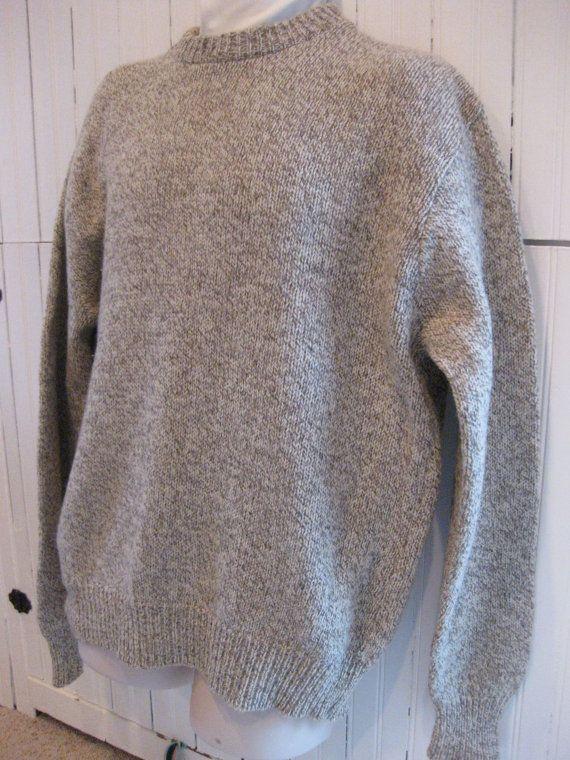 gray <> Chandail de LL Bean Mens RETRO 70 s...jaspés laine... par mbaugher