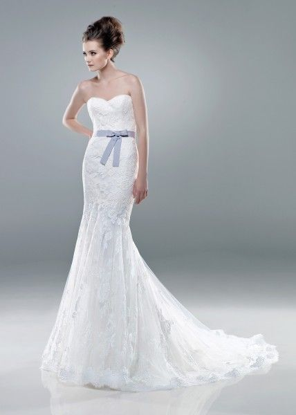 Benjamin Roberts 2228 is a beautiful strapless lace fishtail gown