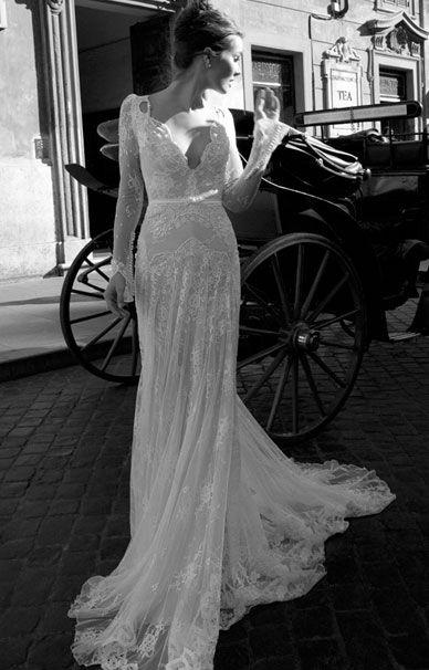 Кружевное свадебное платье с открытой спиной Inbal Dror | смотреть фото цены купить