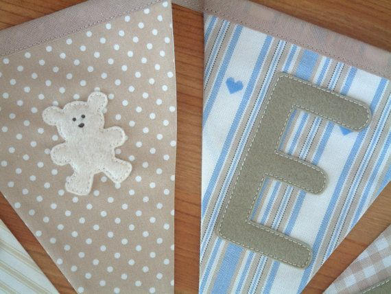Personalised banner, bunting. Unisex. Christening gift. Fabric flags. Beige & blue. Trains, stars, boats, teddies. Baby, nursery, playroom.