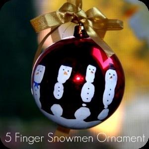 Christmas Kids Crafts - Finger Snowman Ornament