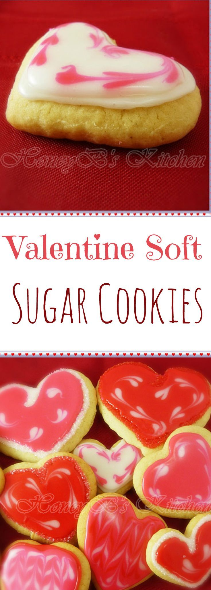 Valentine Soft Sugar Cookies - big soft delicious cookies cut into heart shapes and glazed with decorating icing. Show someone you love them and make this recipe for your Valentine!