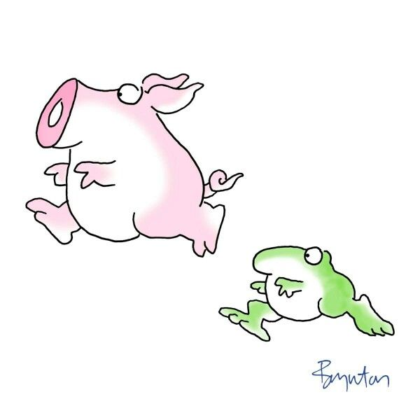 Why is the frog running instead of hopping?  Huh. I don't know.