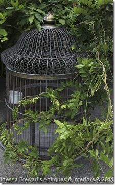 Antique Birdcage in the Garden ~ Antique Store Online ~ Belle Brocante ~ www.inessa.com ~ French Antiques
