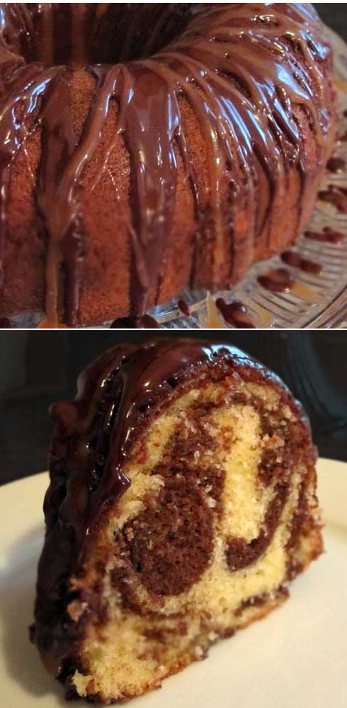 Marble pound cake with sweet cocoa glaze. Serve it as a Memorial Day dessert. Your guests will love you.