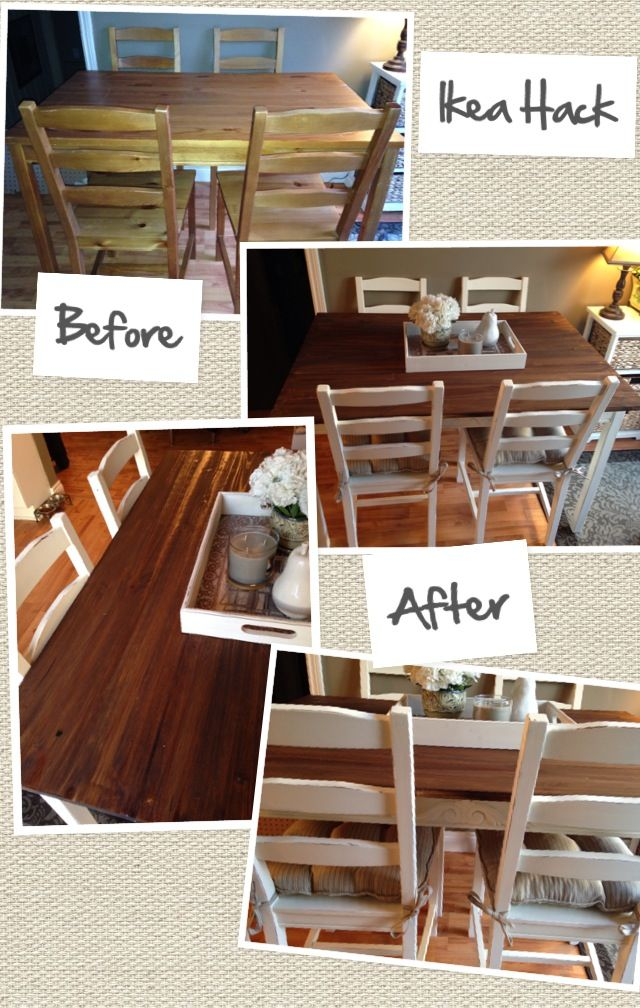 Jokkmokk Ikea Hack. Stained dark on top and chair seats, painted white everywhere else