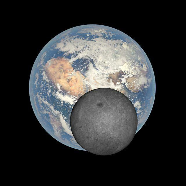 Earth and Moon together in terms of space Photo: Deep Space Climate Observatory  (DSCOVR) on the fifth day of July