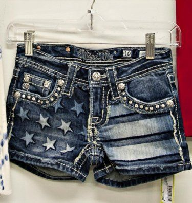 Miss Me Jean Shorts $69.99. Love the flag but maybe longer shorts they're a little too short for me.