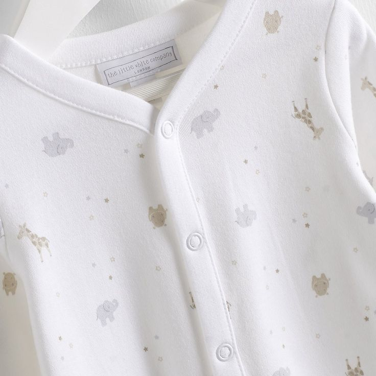 Little Safari Baby Sleepsuit - White AW 2015 http://www.parentideal.co.uk/the-white-company---baby-girls-clothing.html