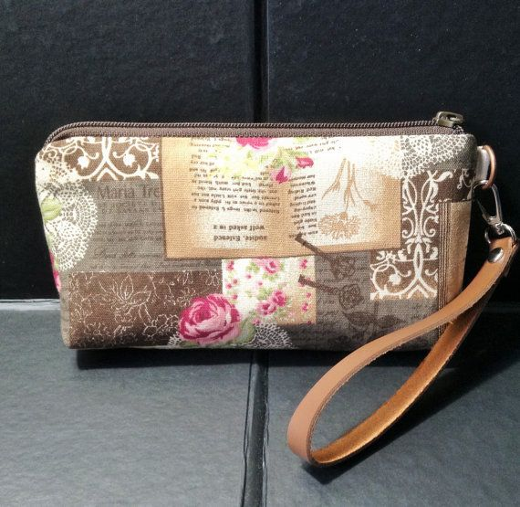 zip pouch shabby rose cosmetic pouch gadget by KatunKatunBags