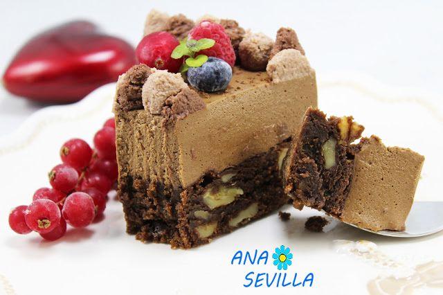 Tarta mousse de chocolate con brownie Tradicional Para los muy chocolateros, una tarta deliciosa. Para San Valentín o no.