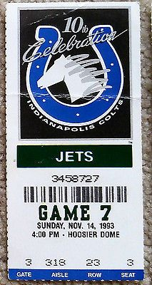CLASSIC INDIANAPOLIS COLTS TICKET STUB v NEW YORK JETS 1993 - RARE!