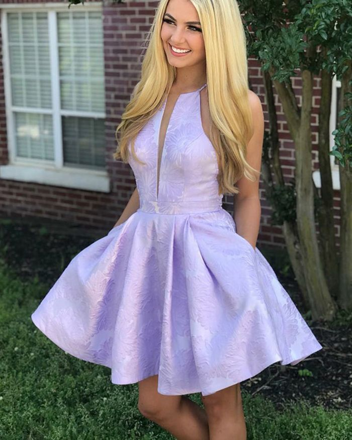 7fe6adda1cfd spaghetti lace homecoming dress with pockets, short lavender prom dress  with pockets
