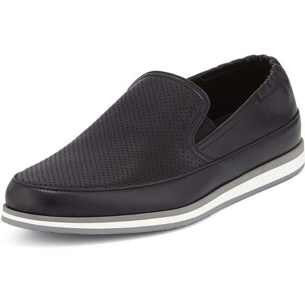 Prada Perforated Leather Slip-On Loafer (62620 RSD) ❤ liked on Polyvore featuring men's fashion, men's shoes, men's loafers, black, mens leather slip on shoes, mens black loafers shoes, mens black slip on shoes, mens slipon shoes and mens slip on shoes