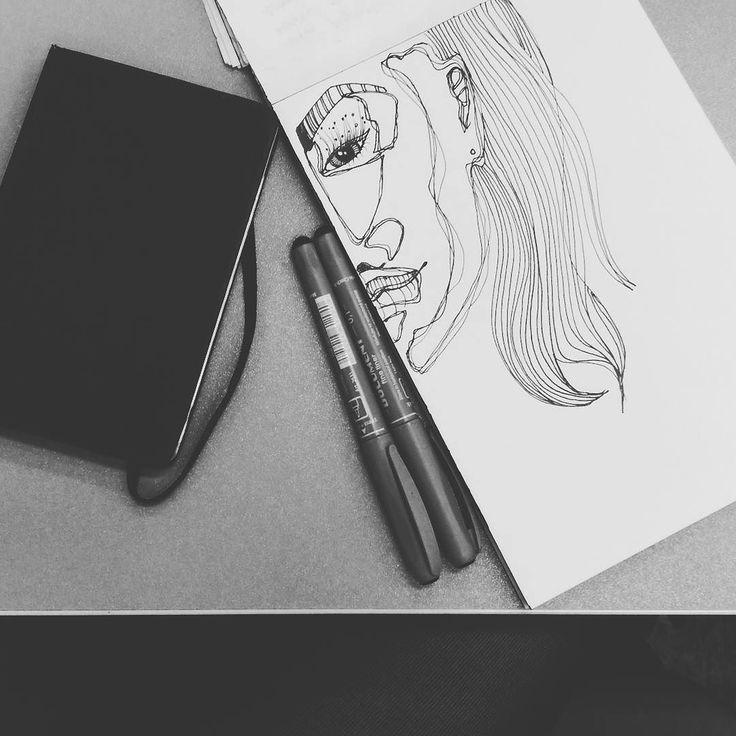 Škola je zábavná. #trpim #kreslim #schoolday #school #draw #drawing #head #portrait #bored #instalifecz #igers by adelaprimova