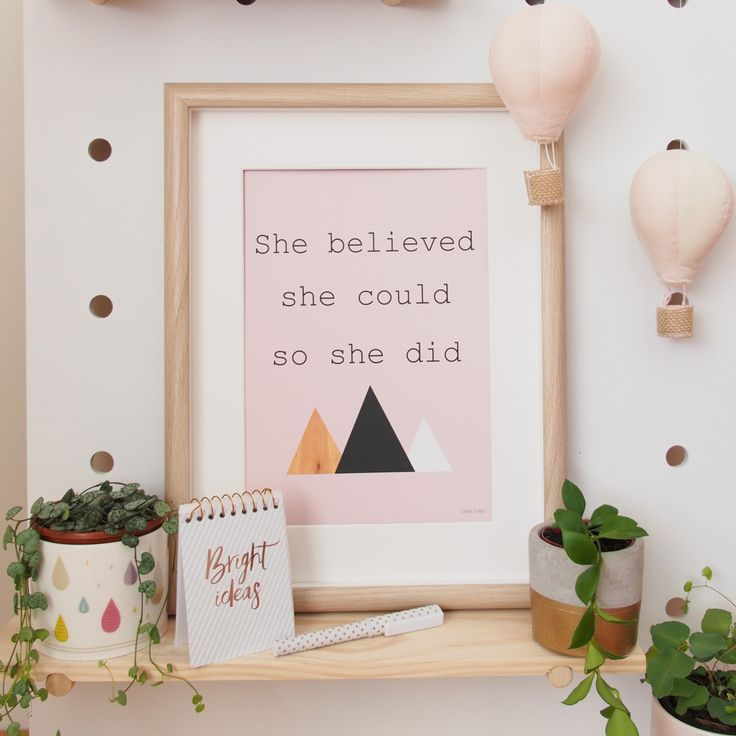 She believed she could so she did wall art.  Inspirational art print, modern wall art. Scandi wall art by LittleSotty on Etsy