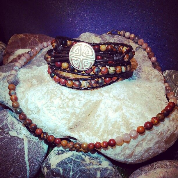SemiPrecious Combinations - PICASSO JASPER Triple Bracelet + SUNSTONE,PICASSO JASPER & OCEAN JASPER Necklace