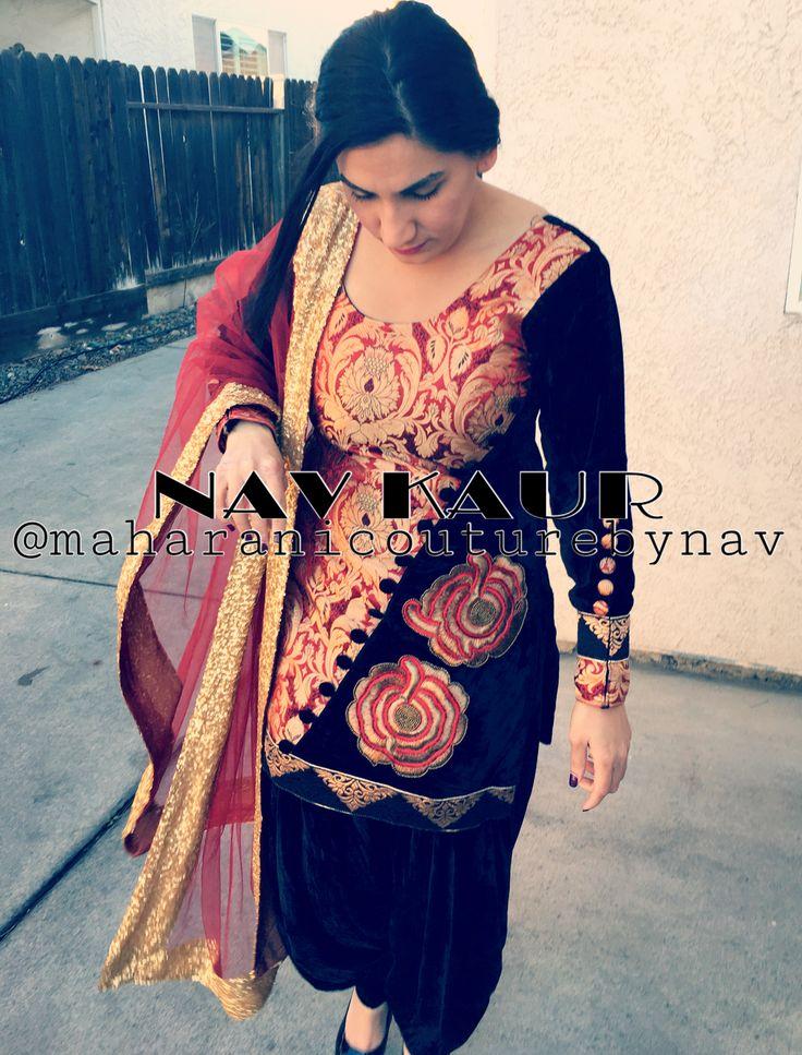 """BLACK VELVET"" Brocade and velvet combination with embroidery on one side. Net duppatta embellished with sequin lace. This suit is available in my closet now For custom made please DM or email at maharanibq@gmail.com PLEASE REFER TO MY PREVIOUS POST TO WIN A CUSTOM MADE SUIT DESIGNED BY ME #punjabigeet#punjabibride#punjabana#sardar#sardari#sardarni#usapunjabi#salwar#kameez#fashionpunjabi#gidha#bhangra#jaggo#dhol#wintercollection16#singh#kaur#jaggo#gurdwara#baraat#dulhan#meraswag#pagg#"