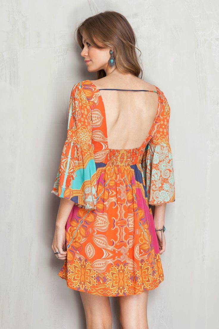 Vestido decote nó estampado salines | Dress to