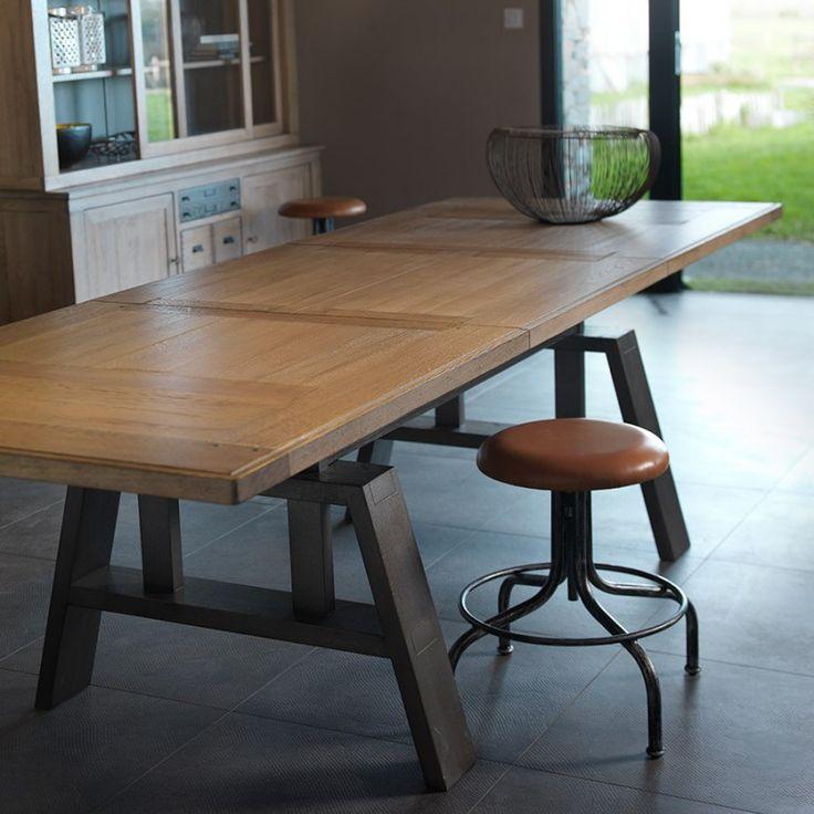 Table Bois Pied Metal De Repas Fuseau Meubles Rigaud 5