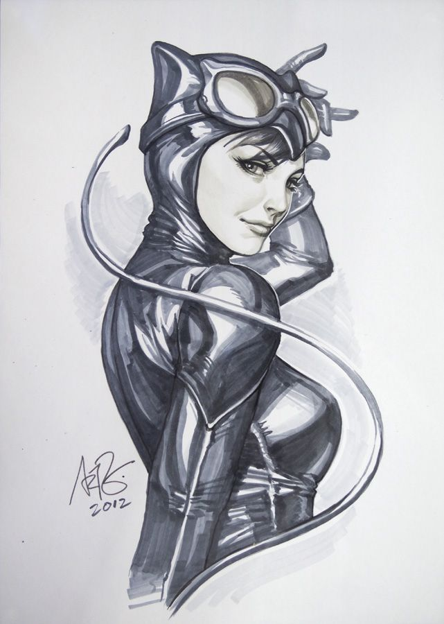 I don't know what it is about this drawing of Catwoman, but I absolutely adore it!  By: Artgerm on deviantArt