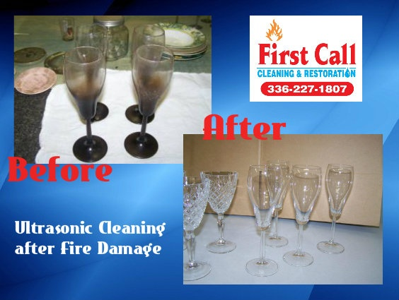 Glass Cleaning by First Call using Ultrasonic Technology. Amazing Difference! CAll US TODAY 336-227-1807 @firstcallclean Fire Damage