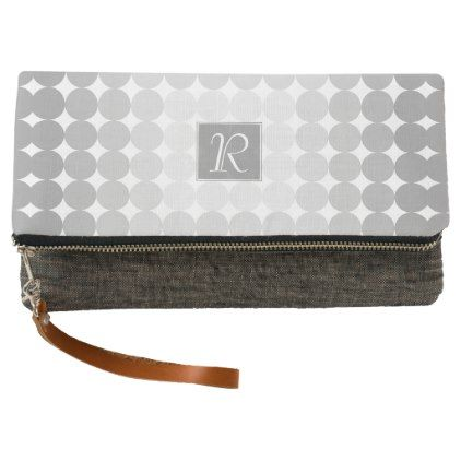 #monogram - #Modern Gray Circles Monogram Clutch