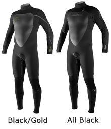 4/3mm Men's O'Neill HEAT Full Wetsuit all black size: medium short