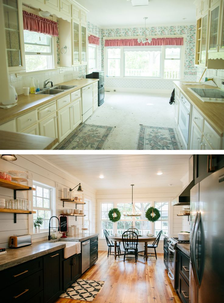 Like:  shiplap walls and ceilings, open shelving, black wall lamps above shelves, black cabinets with concrete countertops.  A center island with butcher block countertop would be a really nice addition.