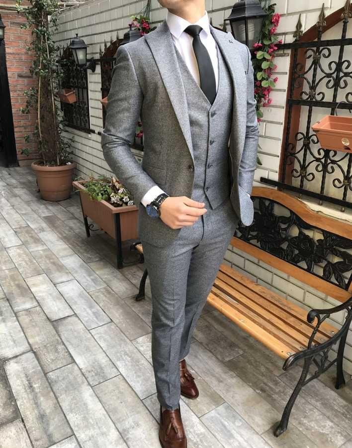d8931de9441ce Terziademaltun - İtalyan stil slim fit ceket yelek pantolon açık gri takım  elbise T3041 (1)