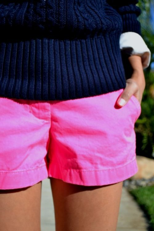 Navy sweater + hot pink shorts