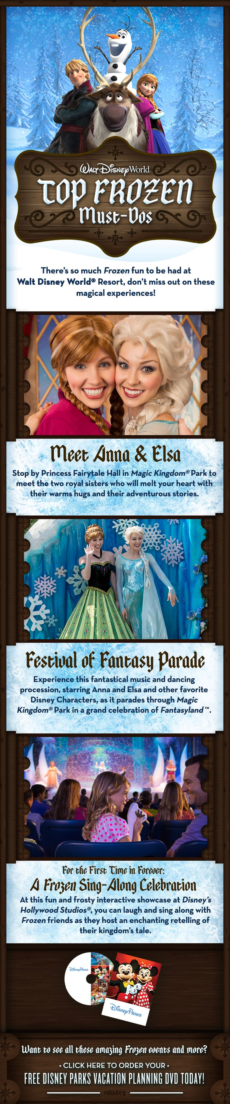 Top Frozen Must-Dos at Walt Disney World featuring Anna, Elsa and Olaf! Wanting to plan a 'Frozen' Disney vacation?? I can help for FREE! Contact me today! Jorie@onceuponavacation.com