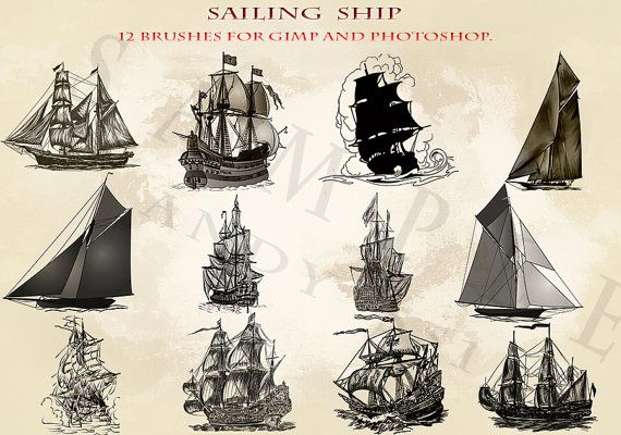 Sailing ship 12 Photoshop brushes for GIMP and