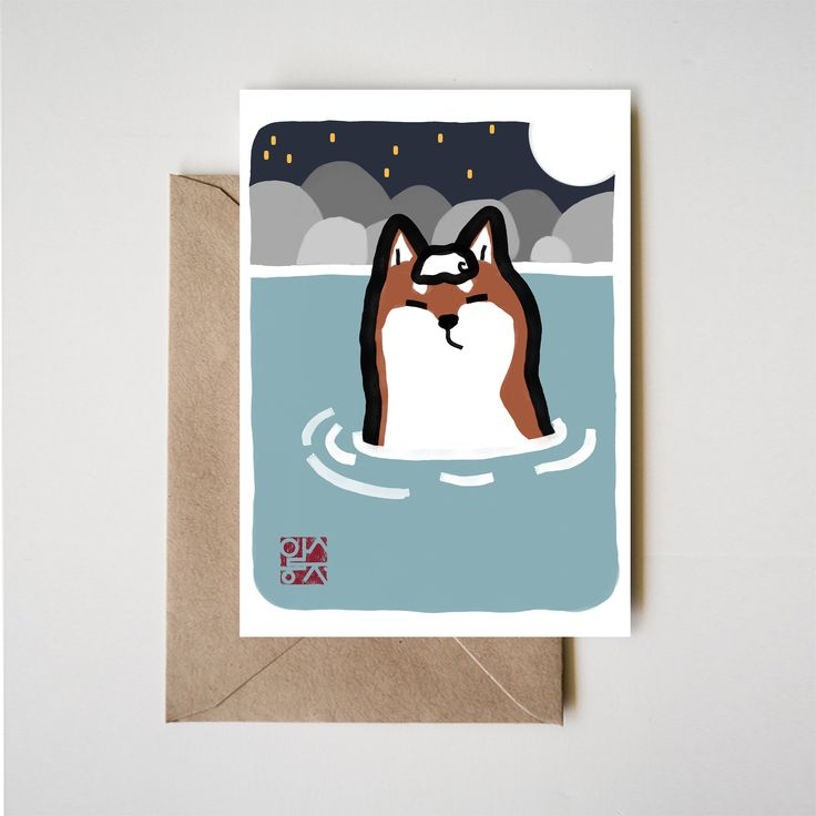 Onsen Original Shibe Card, Shiba Inu Sumi-e Painting Block Printing Animal illustration Asian Japanese Zen Dog lover Graphic Cute hot spring