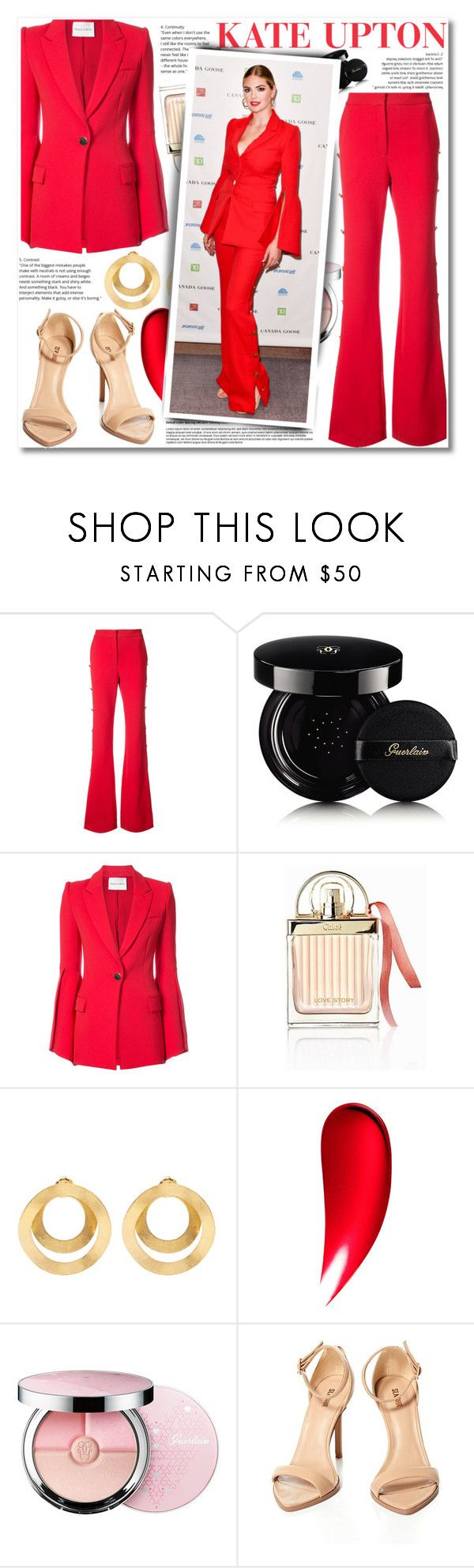 """""""Kate Upton - Lady in Red"""" by anne-mclayne-andreea-miclaus ❤ liked on Polyvore featuring Prabal Gurung, Guerlain, Chloé, Anissa Kermiche, Clé de Peau Beauté, GetTheLook, kateupton, CelebrityStyle and ladyinred"""
