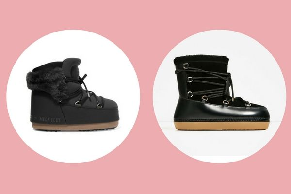 oon Boot Buzz faux fur-trimmed neoprene and faux leather snow boots (€294) vs. Zara lace-up ankle boots (€59,95)