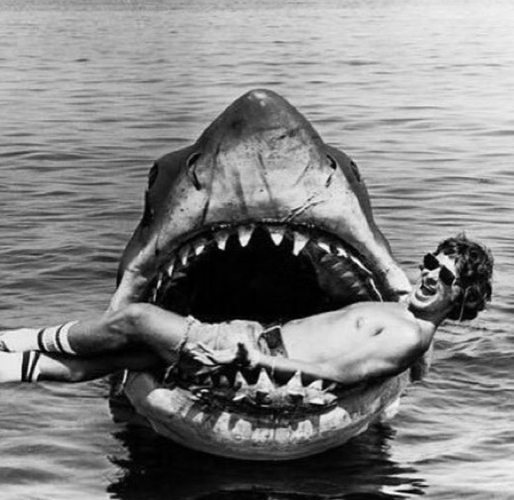 Steven Spielberg on the set of JAWS, 1975.