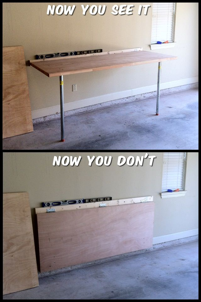 "Fold down workbench from a door & 3/4"" pipe."