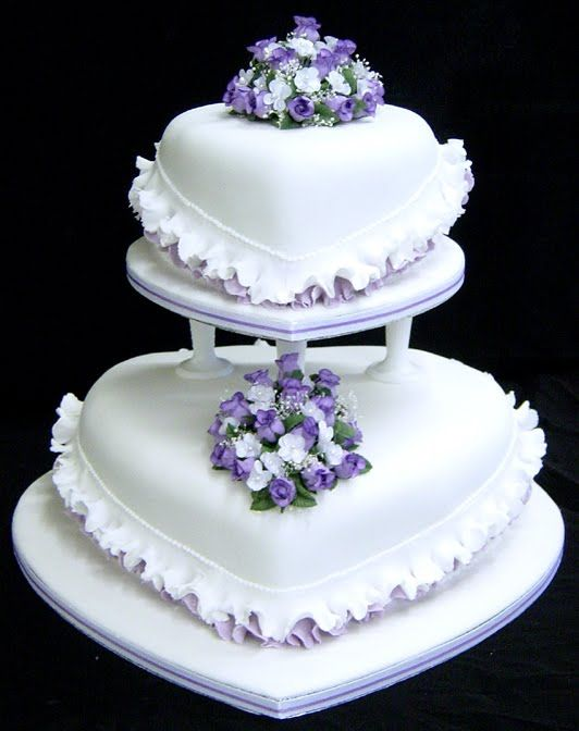 Image detail for -shaped wedding cake with purple trimming and small purple and white ...