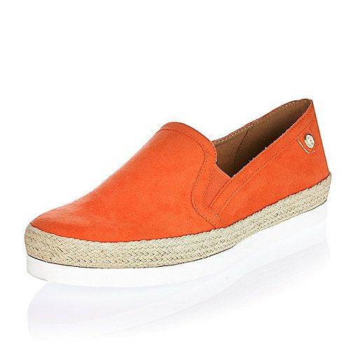 Orange espadrille plimsolls - espadrilles - Well, make my jeans pop!