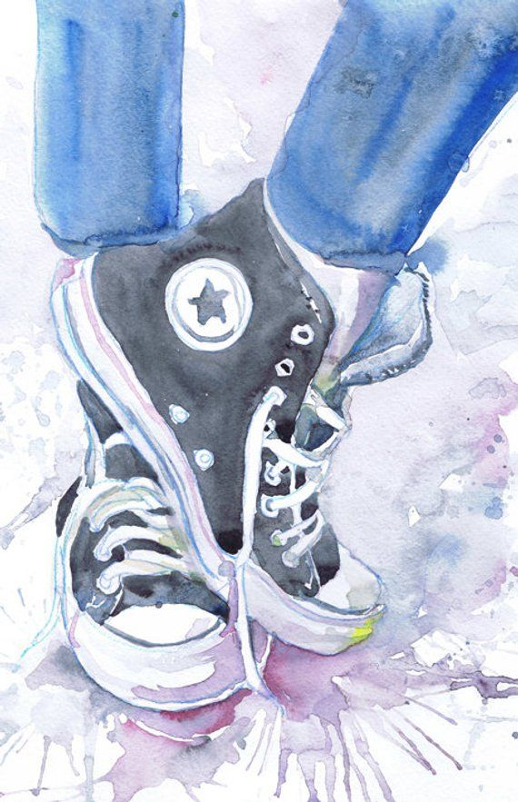 Converse Art Print Shoes Watercolor Painting Fashion Etsy