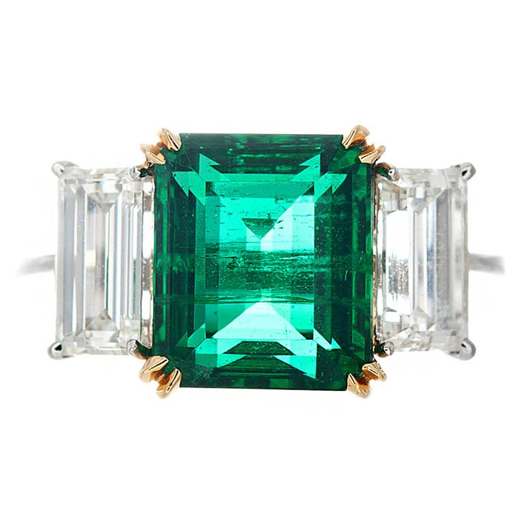 Emerald and Diamond Ring | From a unique collection of vintage three-stone rings at http://www.1stdibs.com/jewelry/rings/three-stone-rings/