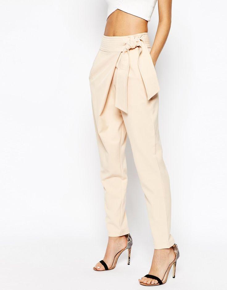 Lavish Alice - Pantaloni con pinces e cintura annodata in vita