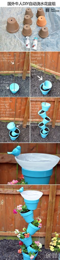 DIY watering system by stacking 6 + pots