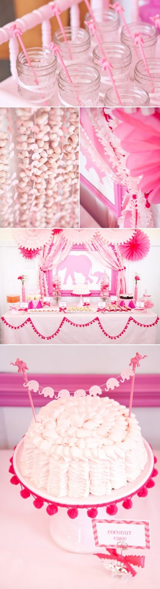 Pink Elephant Baby Shower via Kara's Party Ideas karaspartyideas.com -- the cake topper! (and love the table too)