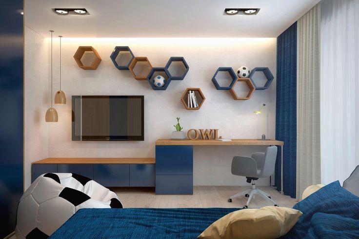 Спальная комната для старшего сына, который увлекается спортом и любит футбол. Его спальная комната стилизована со спортивным уклоном.