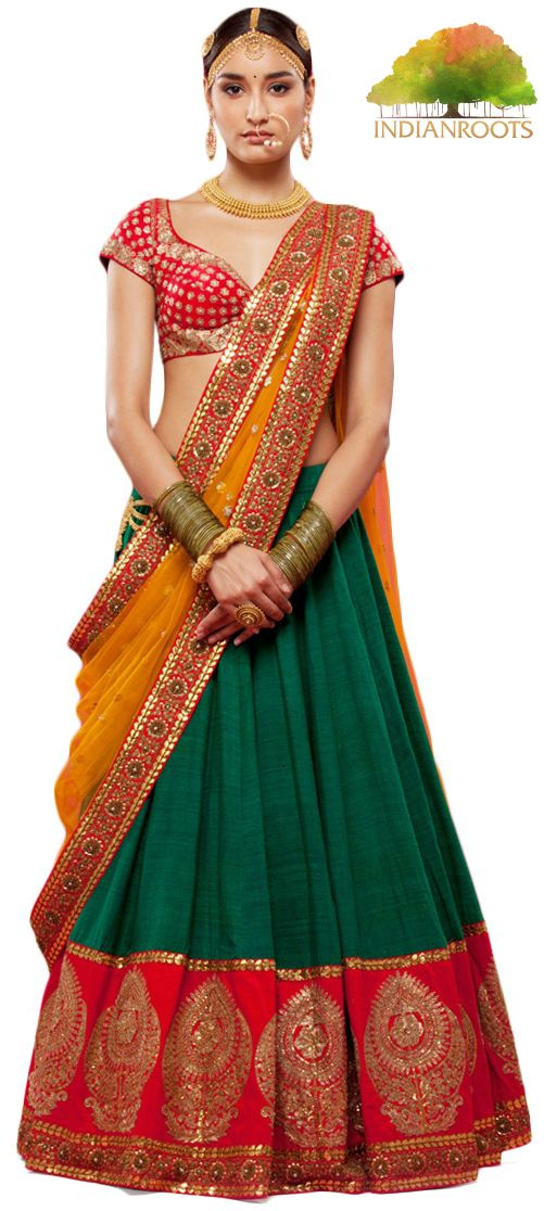 The Lakshmi #Lehenga in #Green by #Sabyasachi at Indianroots.com