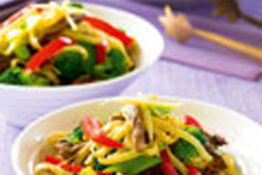 Ginger beef, broccoli and noodle stir-fry